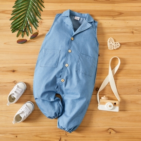 Denim Sleeveless Lapel Collar Baby Jumpsuit