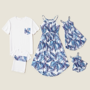 Mosaic Blue Leaves Print Family Matching White Sets