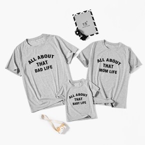 Letter Print Grey Family Matching T-shirts