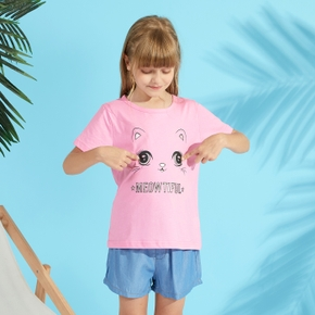 Beautiful Kid Girl 2-Piece Cat Letter Print Suits