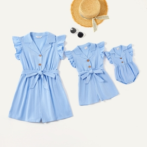 Mommy and Me Flutter-sleeve Shirt Collar Solid Rompers