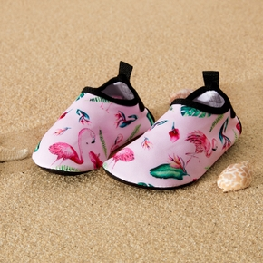 Pink Flamingo Cartoon Athletic Beach Water Shoes for Toddlers / Kids
