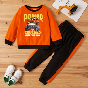 2-piece Toddler Boy Vehicle Letter Print Pullover and Striped Casual Harem Pants Set