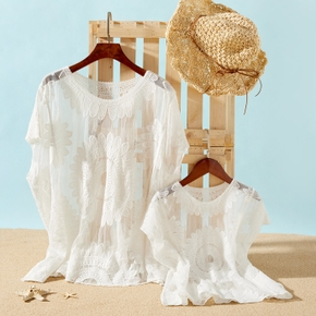 Floral Lace Print White Cover Up for Mommy and Me