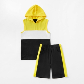 Color Block Hooded Sleeveless Top and Shorts Athleisure Set for Toddlers and Kids