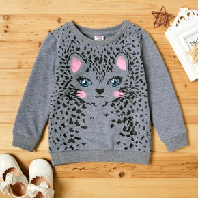 Fashionable Cute Cat Print Longsleeves Sweatshirt