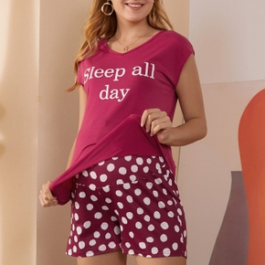 Casual Letter Polka dot Print Round collar Short Sleeve Loungewear