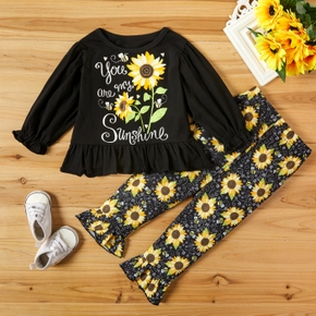 2-piece Baby / Toddler Girl Sunflower Letter Print Ruffled Long-sleeve Top and Allover Pants Set