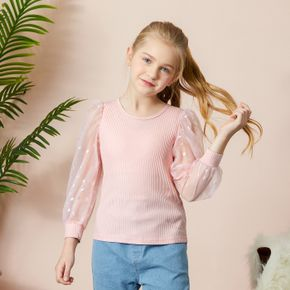 Pretty Heart Decor Chiffon Sleeve T-shirt
