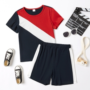Trendy Kid Boy Colorblock Shorts Casual Sets