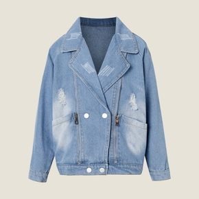 Kids Girl Denim Lapel Collar Jacket