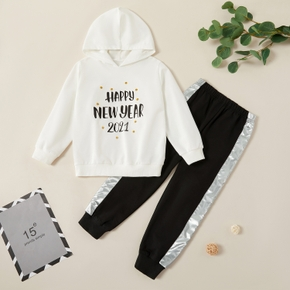 Trendy Letter NEW YEAR Print Hooded Sweatshirt and Elasticized Pants Set