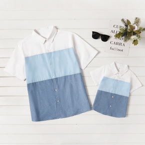 White and Blue Splice Button Front Short Sleeve Shirts for Daddy and Me