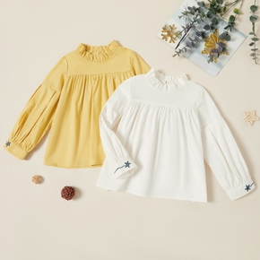 Kids Girl Solid Doll Collar Embroidered Blouse