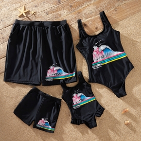 Wave and Tree Print One-piece Family Matching Swimsuits