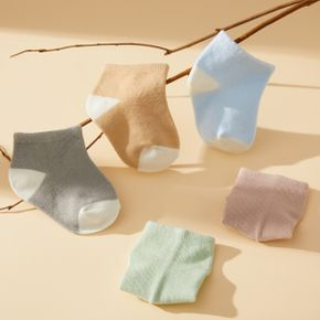 5-piece Baby Solid Breathable Socks Set