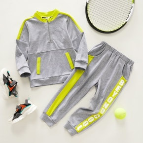 2-piece Toddler Boy Zipper Colorblock Sweatshirt and Letter Print Pants with Pocket Sporty Set