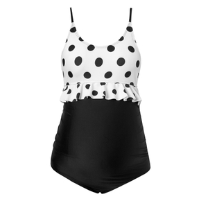 Maternity 1pcs Polka dot full print Black/White one piece swimsuit