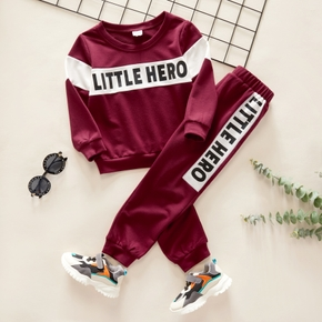 2-piece Toddler Boy Letter Print Colorblock Pullover and Elasticized Pants Casual Set