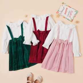 Trendy Solid Ruffled Top and Bowknot Slip Dress Sets
