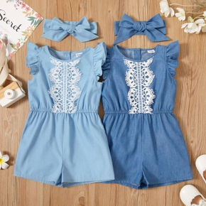 Trendy Toddler Girl Lace Ruffle Flounce Rompers