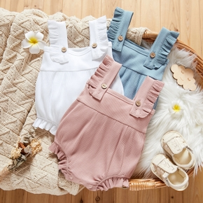 Solid Ruffled Sleeveless Baby Romper