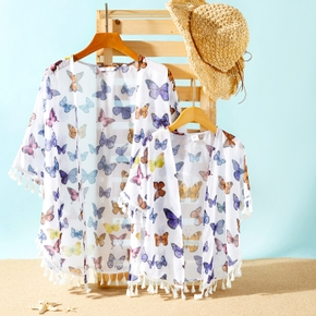Butterfly Print Tassel Cover Up for Mommy and Me