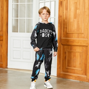 Fashionable Dinosaur Letter Allover Print Hooded Sweatshirt and Pants Set