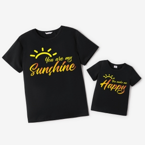 Mosaic Family Matching Summer New Sunshine Cotton Daddy and Me Tees