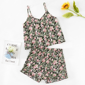 casual Floral Print V-neck Cami Loungewear