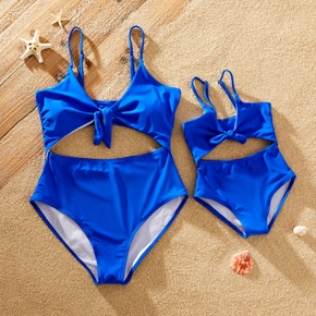 Blue Sling One-piece Swimsuits for Mommy and Me