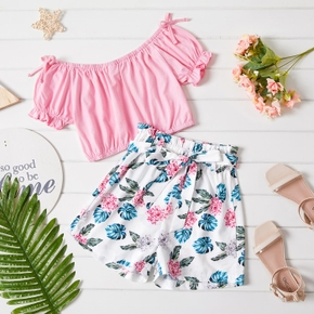 Kid Girl Solid Top Floral Print Bowknot Decor Shorts 2-piece Casual Set