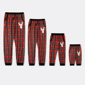 Merry Christmas Series Deer Pattern Plaid Print Family Matching Pants