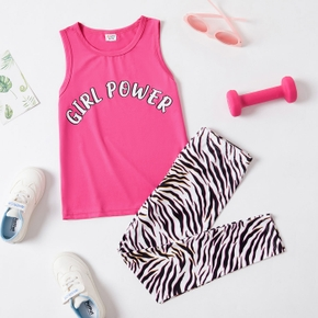 Letter Print Tank Top and Zebra-striped Pants Athleisure Set for Toddlers/Kids