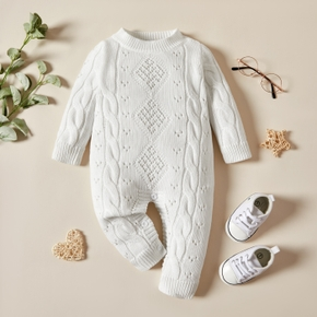 Solid Knitted Casual Long-sleeve  Baby Jumpsuit