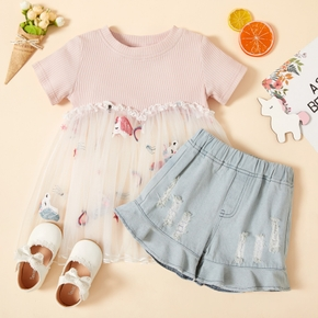 2-piece Toddler Girl Striped Splice Lace Unicorn Top and Denim Shorts Set