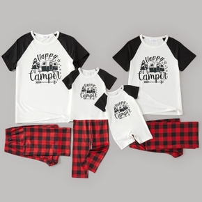 Family Matching Letter and Red Plaid Print Raglan Short Sleeve Pajamas Set(Flame Resistant)