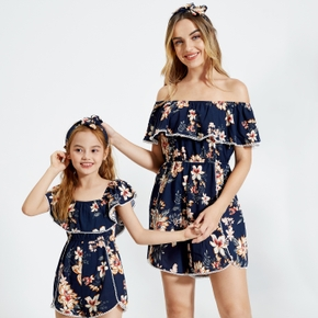 Floral Print Off Shoulder Matching Navy Shorts Rompers