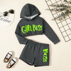 2-piece Toddler Girl Letter Print Hoodie Pullover and Elasticized Shorts Set