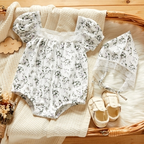 2-Piece Baby Floral Print Lace Short-sleeve Romper and Hat Set