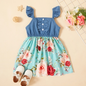 Toddler Girl Floral Print Splice Dress
