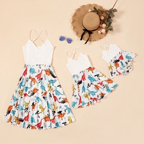 Mommy and Me Cute Dinosaur Stitching Dresses