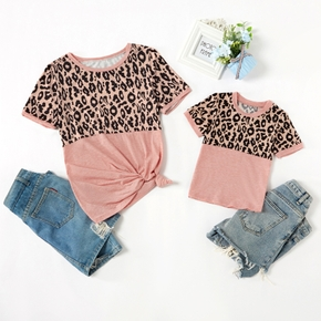 Leopard Print Pattern Tops for Mom and Me