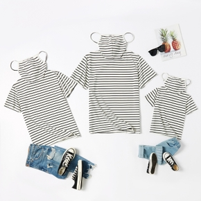 Stripe Print Cotton Short Sleeve T-shirts with Attached Face Mask