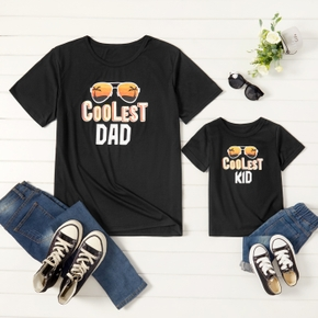 Coolest Letter Print Black T-shirts for Dad and Me