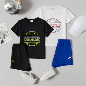 'Soccer' Print Tee and Shorts Athleisure Set for Toddlers / Kids