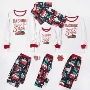 Family Matching Red Car Carrying Christmas Tree and Letter Print Pajamas Sets (Flame resistant)
