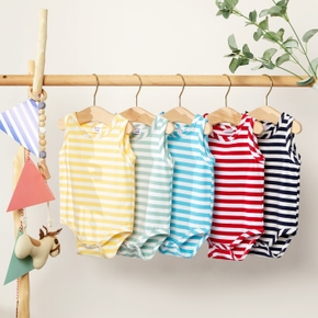 1pc Baby Unisex  Short-sleeve Cotton casual Stripes Rompers & Bodysuits
