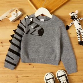 Toddler Boy Zebra Print Striped Pullover Kintted Sweater