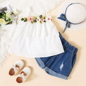 2-piece Toddler Girl Floral Print Ruffled Camisole and Denim Shorts Set